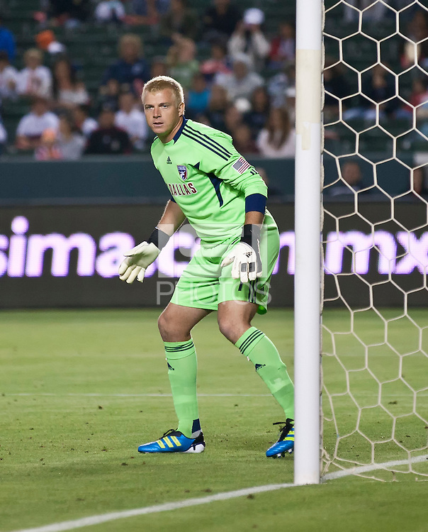 CARSON, CA – June 18, 2011: FC Dallas goalie Kevin Hartman (1)  during the match between Chivas USA and FC Dallas at the Home Depot Center in Carson, California. Final score Chivas USA 1, FC Dallas 2.