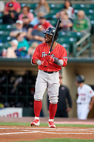 Pawtucket Red Sox right fielder Aneury Tavarez (20) at bat during a game against the Rochester Red Wings on May 19, 2018 at Frontier Field in Rochester, New York.  Rochester defeated Pawtucket 2-1.  (Mike Janes/Four Seam Images)
