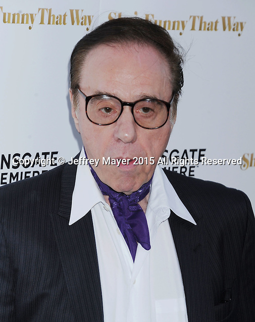LOS ANGELES, CA - AUGUST 19: Director/writer Peter Bogdanovich arrives at the Premiere Of Lionsgate Premiere's 'She's Funny That Way' at Harmony Gold on August 19, 2015 in Los Angeles, California.
