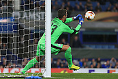 28th September 2017, Goodison Park, Liverpool, England; UEFA Europa League group stage, Everton versus Apollon Limassol; Bruno Vale of Apollon Limassol saves and punches the ball away