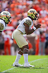 Wake Forest Demon Deacons quarterback Kendall Hinton (2) waits for the ball to be snapped during first half action against the Clemson Tigers at Memorial Stadium on October 7, 2017 in Clemson, South Carolina.  The Tigers defeated the Demon Deacons 28-14. (Brian Westerholt/Sports On Film)