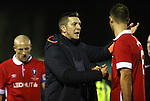 Anthony Johnson, co-manager of Salford City consoles his players at full time - Salford City vs Hartlepool United - The Emirates FA Cup - Moor Lane - Salford - 04/12/2015 Pic Philip Oldham/SportImage