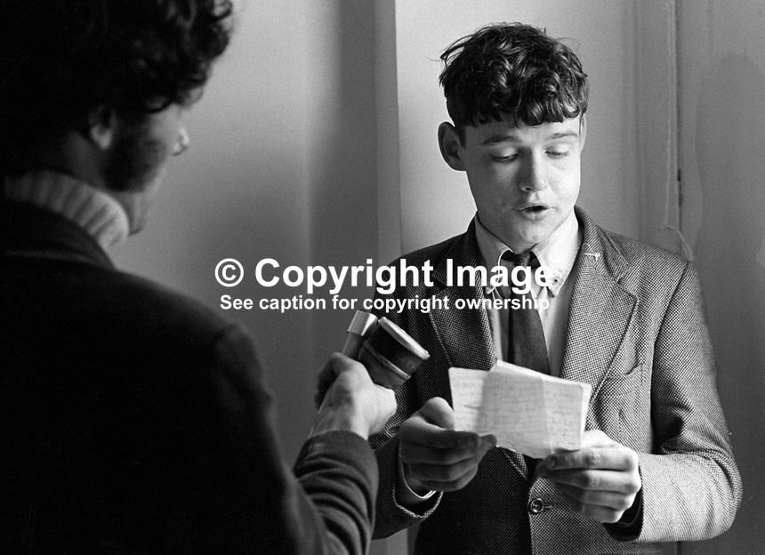 "Thomas Moore, N Ireland, soldier, Royal Irish Rangers, a regiment of the British Army, who was ""captured"" and sentenced to death for ""spying"" by the Official IRA operating in the Lower Falls Road area of Belfast, reads from a prepared statement to journalists. Moore was subsequently released unharmed in Portadown.  197108140328a..Copyright Image from Victor Patterson, 54 Dorchester Park, Belfast, UK, BT9 6RJ..Tel: +44 28 9066 1296.Mob: +44 7802 353836.Voicemail +44 20 8816 7153.Skype: victorpattersonbelfast.Email: victorpatterson@me.com.Email: victorpatterson@ireland.com (back-up)..IMPORTANT: If you wish to use this image or any other of my images please go to www.victorpatterson.com and click on the Terms & Conditions. Then contact me by email or phone with the reference number(s) of the image(s) concerned."