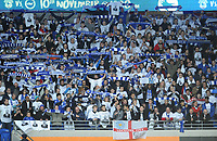 Leicester City fans hold up scarves in memory of Vichai Srivaddhanaprabha<br /> <br /> Photographer Kevin Barnes/CameraSport<br /> <br /> The Premier League -  Cardiff City v Leicester City - Saturday 3rd November 2018 - Cardiff City Stadium - Cardiff<br /> <br /> World Copyright © 2018 CameraSport. All rights reserved. 43 Linden Ave. Countesthorpe. Leicester. England. LE8 5PG - Tel: +44 (0) 116 277 4147 - admin@camerasport.com - www.camerasport.com