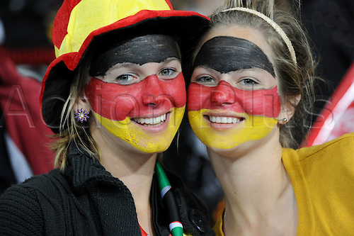 German fans on the stand prior to the 2010 FIFA World Cup third place match between Uruguay and Germany at the Nelson Mandela Bay Stadium in Port Elizabeth, South Africa 10 July 2010.