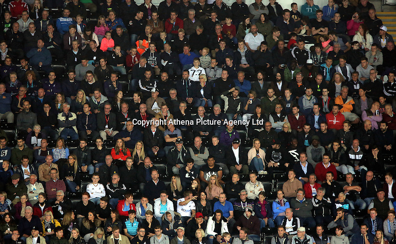 Swansea supporters during the EFL Cup Third Round match between Swansea City and Manchester City at The Liberty Stadium in Swansea, Wales, UK. Wednesday 21 September.