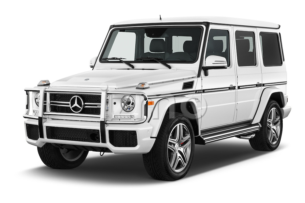 2016 Mercedes Benz G-Class AMG-G63 5 Door SUV Angular Front stock photos of front three quarter view