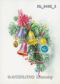 Interlitho, CHRISTMAS SANTA, SNOWMAN, nostalgic, paintings, branch, bells, balls(KL2462/3,#X#) Weihnachten, nostalgisch, Navidad, nostálgico, illustrations, pinturas