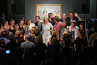 "Pictured: The band thank the crowd after the concert. Saturday 21 September 2019<br /> Re: Concert for the exhibition of ""No More Shall We Part, 14 Paintings, 17 Years Later"", a collection of paintings based on the Nick Cave and the Bad Seeds album with the same name, by Stefanos Rokos at Bernerts Gallery in Antwerp, Belgium."