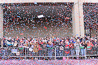 February 4, 2015 - Boston, Massachusetts, U.S. -  Fans are showered with confetti during a parade held in Boston to celebrate the New England Patriots victory over the Seattle Seahawks in Super Bowl XLIX. Eric Canha/CSM