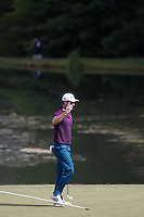 Gainesville, VA - August 2, 2015:    Justin Rose acknowledges the crowd on the 14th green  at the Robert Trent Jones Golf Club in Gainesville, VA. August 2, 2015.  (Photo by Elliott Brown/Media Images International)