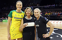 18.10.2018 Silver Ferns Laura Langman and Australia's Caitlin Bassett in action during the Silver Ferns v Australia netball test match at the TSB Arena in Wellington. Mandatory Photo Credit ©Michael Bradley.