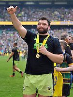 Alex Corbisiero waves to the crowd after the match. Aviva Premiership Final, between Saracens and Northampton Saints on May 31, 2014 at Twickenham Stadium in London, England. Photo by: Patrick Khachfe / JMP
