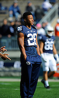 10 October 2015:  Penn State RB Saquon Barkley (26) was dressed in sweat pants and did not participate in warm ups. The Penn State Nittany Lions defeated the Indiana Hoosiers 29-7 at Beaver Stadium in State College, PA. (Photo by Randy Litzinger/Icon Sportswire)