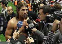 2.05.2012. Bilbao, Spain. La Liga. Real Madrid beat Athelicto de Bilbao 0-3 at San Mames stadium  and   is new La Liga championship. Picture show Sergio Ramos
