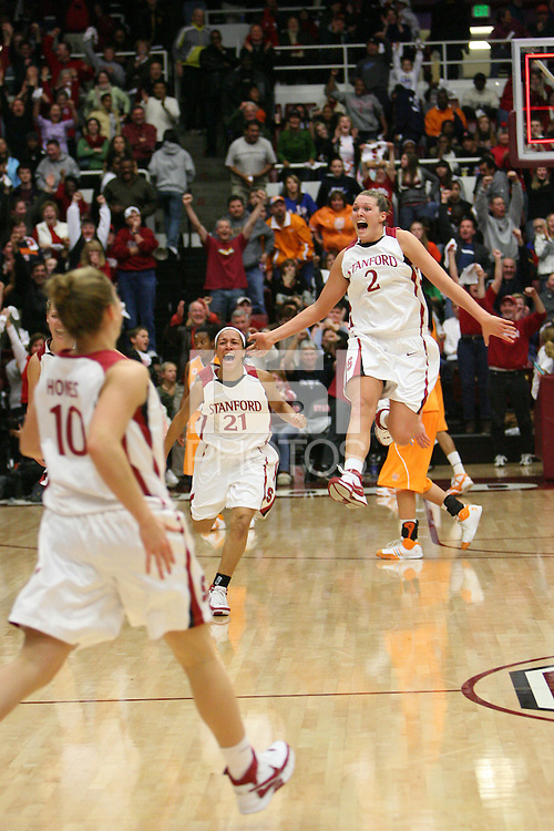 22 December 2007: Stanford Cardinal Rosalyn Gold-Onwude (21) and Jayne Appel (2) during Stanford's 73-69 overtime win against the Tennessee Lady Volunteers at Maples Pavilion in Stanford, CA.