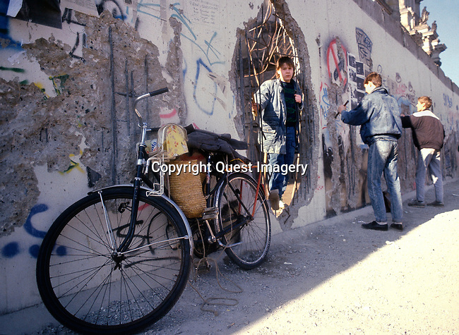 Images from the fall of the Berlin Wall, a barrier that divided Berlin from 1961 to 1989.   <br />