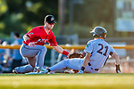 29 July 2018: Batavia Muckdogs third baseman Denis Karas is unable to tag out a sliding Devin Foyle in the 7th inning of a game against the Vermont Lake Monsters at Centennial Field in Burlington, Vermont. The Lake Monsters defeated the Muckdogs 4-1 in NY Penn League action. Mandatory Credit: Ed Wolfstein Photo *** RAW (NEF) Image File Available ***