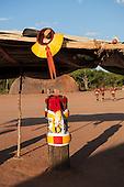Xingu Indigenous Park, Mato Grosso, Brazil. Aldeia Matipu. Kuarup festival tree trunks which represent deceased elders.