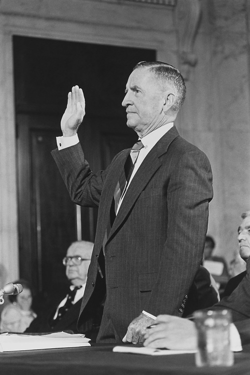 Ross Perot being sworn in prior to testifying before Senate Selection Committee on POW-MIA affairs in Russell Caucus room on Aug. 11, 1992. (Photo by Maureen Keating/CQ Roll Call via Getty Images)