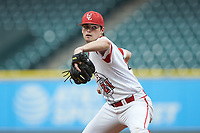 Louisiana Ragin' Cajuns starting pitcher Jack Burk (21) in action against the Vanderbilt Commodoresin game five of the 2018 Shriners Hospitals for Children College Classic at Minute Maid Park on March 3, 2018 in Houston, Texas.  The Ragin' Cajuns defeated the Commodores 3-0.  (Brian Westerholt/Four Seam Images)
