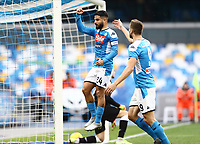 14th January 2020; Stadio San Paolo, Naples, Campania, Italy; Coppa Italia Football, Napoli versus Perugia; Lorenzo Insigne of Napoli celebrates after scoring from a penalty in the 26th minute for 1-0 with Fernando Llorente - Editorial Use