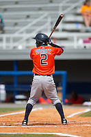 Osvaldo Duarte (2) of the Greeneville Astros at bat against the Kingsport Mets at Hunter Wright Stadium on July 7, 2015 in Kingsport, Tennessee.  The Mets defeated the Astros 6-4. (Brian Westerholt/Four Seam Images)