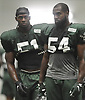 Bruce Carter #54, right, and Julian Stanford #51 practice during New York Jets Training Camp at the Atlantic Health Jets Training Center in Florham Park, NJ on Monday, Aug. 7, 2017.