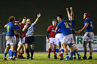The Italy U20s players celebrate as the final whistle is blown<br /> <br /> Photographer Richard Martin-Roberts/CameraSport<br /> <br /> Six Nations U20 Championship Round 4 - Wales U20s v Italy U20s - Friday 9th March 2018 - Parc Eirias, Colwyn Bay, North Wales<br /> <br /> World Copyright &not;&copy; 2018 CameraSport. All rights reserved. 43 Linden Ave. Countesthorpe. Leicester. England. LE8 5PG - Tel: +44 (0) 116 277 4147 - admin@camerasport.com - www.camerasport.com