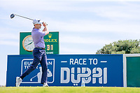 Russell Knox (SCO) on the 1st tee during the 1st round of the 2017 Portugal Masters, Dom Pedro Victoria Golf Course, Vilamoura, Portugal. 21/09/2017<br /> Picture: Fran Caffrey / Golffile<br /> <br /> All photo usage must carry mandatory copyright credit (&copy; Golffile | Fran Caffrey)