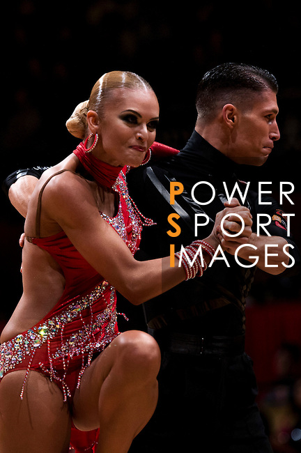 Miha Vodicar and Nadiya Bychkova of Slovenia during the WDSF GrandSlam Latin on the Day 1 of the WDSF GrandSlam Hong Kong 2014 on May 31, 2014 at the Queen Elizabeth Stadium Arena in Hong Kong, China. Photo by AItor Alcalde / Power Sport Images