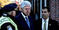 President Clinton at Faneuil Hall before the start of the Thomas Menino&rsquo;s funeral procession on November 3, 2014.<br />