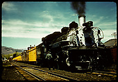 #499 K-37 with excursion train containing 3 cabooses in Chama.<br /> D&amp;RGW  Chama, NM