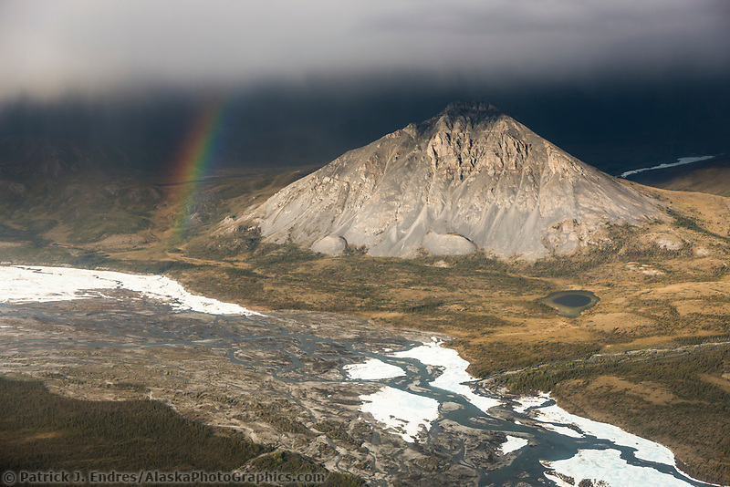 Aerial of the Brooks Range mountains, East fork of the Chandalar river, Arctic National Wildlife Refuge, Alaska.