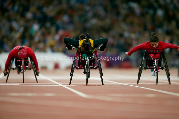 Australia's Angela Ballard pushes hard to take out the silver medal in the women's T53 200m final in a time of 29:35 seconds..London Paralympic Games - Athletics 6.9.12