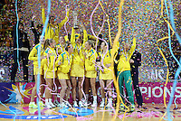 16.08.2015 Australia celebrate winning the gold medal after the Silver Ferns v Australia Gold Medal netball match at the 2015 Netball World Cup at All Phones Arena in Sydney Australia. Mandatory Photo Credit ©Michael Bradley.