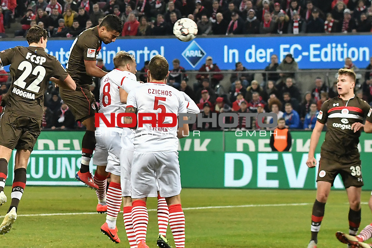 08.02.2019, Rheinenergiestadion, Köln, GER, DFL, 2. BL, VfL 1. FC Koeln vs FC St. Pauli, DFL regulations prohibit any use of photographs as image sequences and/or quasi-video<br /> <br /> im Bild Strafraumszene . Torchance von Sami Allagui (#11, FC St. Pauli) <br /> <br /> Foto © nph/Mauelshagen