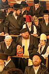 Israel, Bnei Brak. Purim feast at the Premishlan congregation, 2005<br />