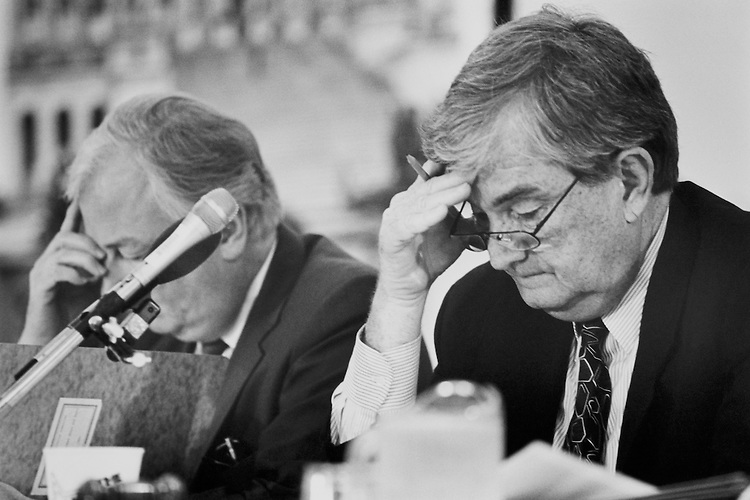 """Rep. Allan Byron Swift, D-Wash., House of Representatives Member, Rep. Charles Grandison """"Charlie"""" Rose III, D-N.C., House of Representatives Member, at long House Admin meeting. June 16, 1994 (Photo by Laura Patterson/CQ Roll Call)"""