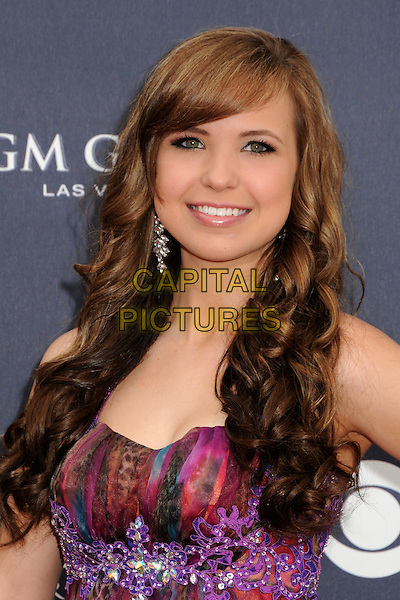 SAVANNAH BERRY .46th Annual Academy of Country Music Awards - Arrivals held at the MGM Grand Garden Arena, Las Vegas, Nevada, USA, 3rd April 2011..portrait headshot strapless pink purple print fringe  beaded .CAP/ADM/BP.©Byron Purvis/AdMedia/Capital Pictures.