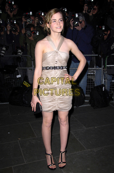 "EMMA WATSON.VIP private view of ""Vanity Fair Portraits"" sponsored by Burberry, National Portrait Gallery, London, England. .February 11th, 2008.full length gold belt beige brown dress clutch bag purse shoes black hand on hip .CAP/CAS.©Bob Cass/Capital Pictures."