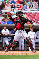 Lansing Lugnuts catcher Javier Hernandez (29) throws down to second base between innings during a Midwest League game against the Wisconsin Timber Rattlers on May 8, 2018 at Fox Cities Stadium in Appleton, Wisconsin. Lansing defeated Wisconsin 11-4. (Brad Krause/Four Seam Images)