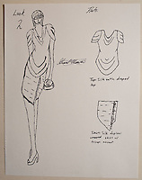 Sketches drawn by Grant Mower (cq, age 12), already an award winning fashion designer, at his home in Flower Mound, Texas, Friday, February 18, 2011. Grants mother, Moanna Mower (cq) constructs his designs, which Grant sketches. ..Photo by Matt Nager