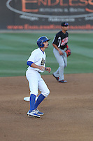 Tim Locastro (25) of the Rancho Cucamonga Quakes leads off of second base during a game against the High Desert Mavericks at LoanMart Field on August 3, 2015 in Rancho Cucamonga, California. Rancho Cucamonga defeated High Desert, 2-1. (Larry Goren/Four Seam Images)