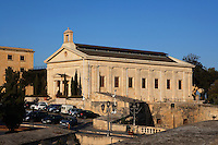 General view of the Garrison Chapel, 19th century, Valletta, Malta, pictured on June 6, 2008, in the afternoon.  The Republic of Malta consists of seven islands in the Mediterranean Sea of which Malta, Gozo and Comino have been inhabited since c.5,200 BC. It has been ruled by Phoenicians (Malat is Punic for safe haven), Greeks, Romans, Fatimids, Sicilians, Knights of St John, French and the British, from whom it became independent in 1964. Nine of Malta's important historical monuments are UNESCO World Heritage Sites, including  the capital city, Valletta, also known as the Fortress City. Built in the late 16th century and mainly Baroque in style it is named after its founder Jean Parisot de Valette (c.1494-1568), Grand Master of the Order of St John. The British Garrison Chapel was converted into the Malta Stock Exchange in 2001. Picture by Manuel Cohen.