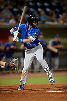 Biloxi Shuckers Weston Wilson (2) at bat during a Southern League game against the Pensacola Blue Wahoos on May 3, 2019 at Admiral Fetterman Field in Pensacola, Florida.  Pensacola defeated Biloxi 10-8.  (Mike Janes/Four Seam Images)