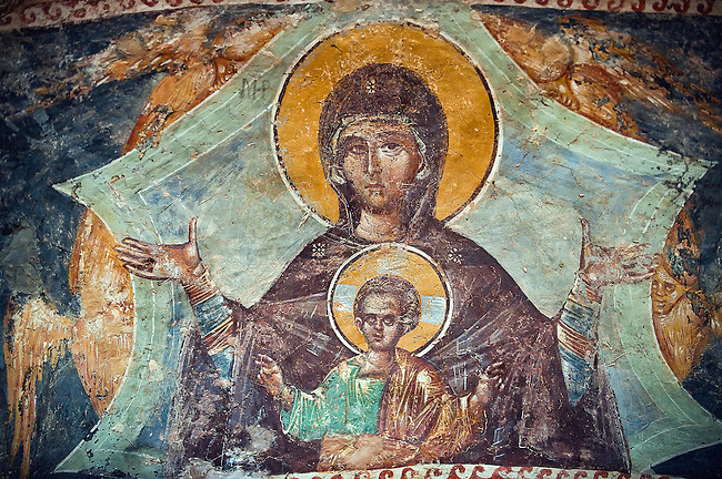 The 11th century Roman Byzantine Church of the Holy Saviour in Chora and a fresco of the Virgin Mary and Jesus in the parecclesion chapel Endowed between 1315-1321 by the powerful Byzantine statesman and humanist  Theodore Metochites. Kariye Museum  Istanbul