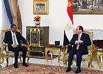 Egyptian President Abdel Fattah el-Sisi, receives Mohamed Hamdan Diqlo, first vice-president of the Sudanese Sovereign Council, in Cairo, Egypt on March 16, 2020. Photo by Egyptian President Office