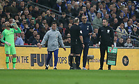 Chelsea manager Maurizio Sarri attempts to substitute Kepa Arrizabalaga but the goalkeeper refused to go off <br /> <br /> Photographer Rob Newell/CameraSport<br /> <br /> The Carabao Cup Final - Chelsea v Manchester City - Sunday 24th February 2019 - Wembley Stadium - London<br />  <br /> World Copyright © 2018 CameraSport. All rights reserved. 43 Linden Ave. Countesthorpe. Leicester. England. LE8 5PG - Tel: +44 (0) 116 277 4147 - admin@camerasport.com - www.camerasport.com