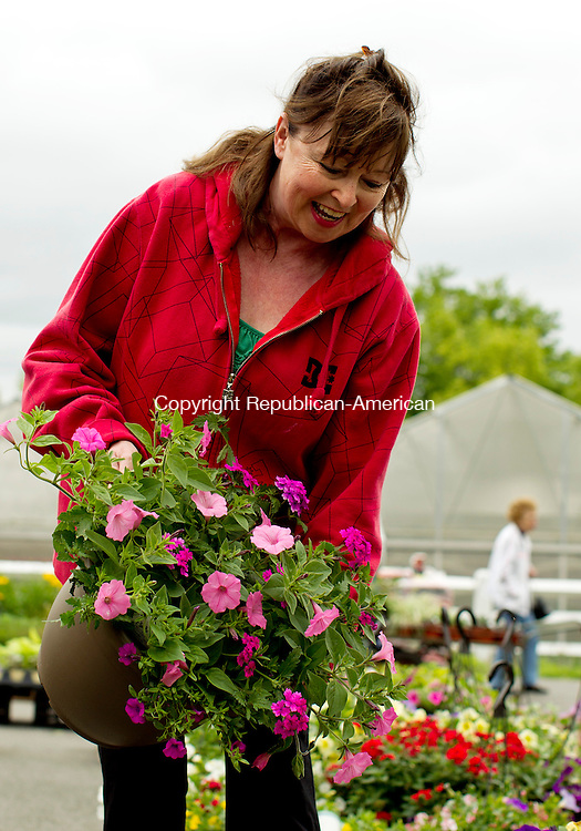 Cheshire, CT-19, May 2010-051910CM03  Beverly Arisco, of Arisco Farms, shows a hanging basket to a customer Wednesday afternoon at the farm stand in Cheshire.  Arsico Farm sells a variety of plants, flowers, and produce.  The farm grows all of it's plants in greenhouses onsite.  The farm opened Easter weekend, and will remain open to the until around Thanksgiving. The family owned farm has been around since 1968, and Beverly and her husband are the third generation family owners. --Christopher Massa Republican-American